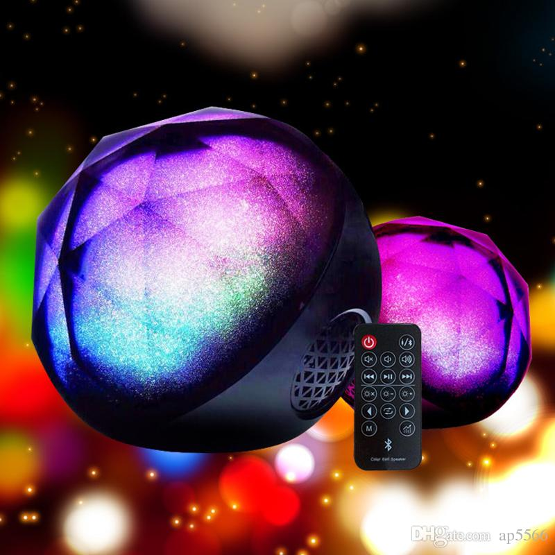2018 Hot Color ball Speaker Creative portable Crystal Magic Ball Subwoofer TF Card Bluetooth wireless mini speaker for Car and Phones