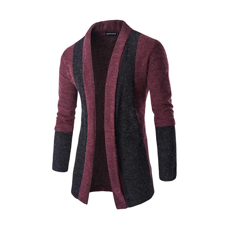 Novos homens moda cardigan sweater costura magro sem fivela