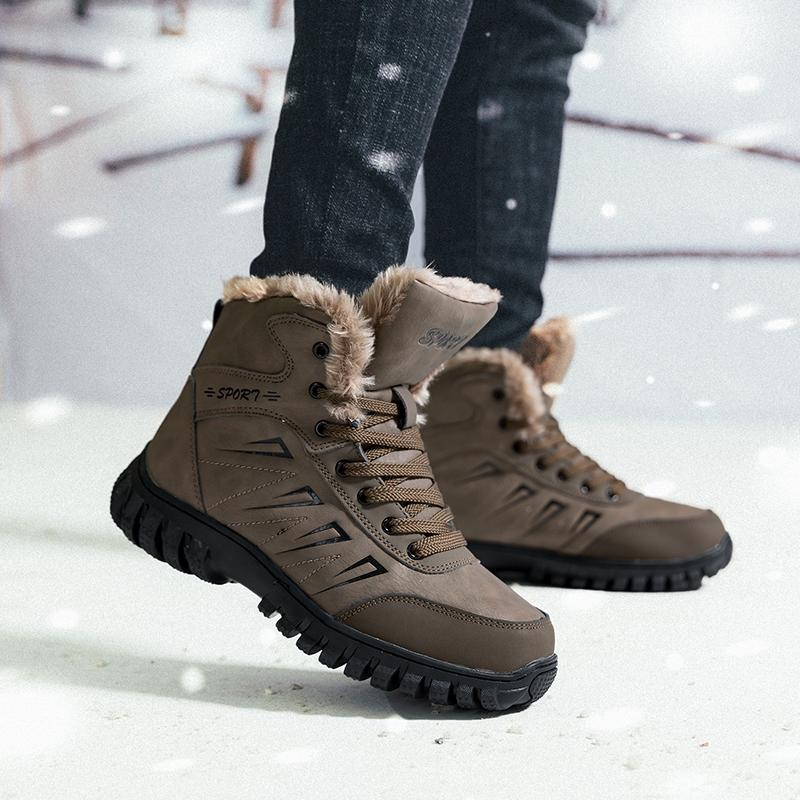 3187afca750 Mens Snow Boots Winter Hiking Boots Men Warm Fur Lined Warm Ankle Booties  Waterproof Work Snow Boots High Top Backpacking Hiking Shoes
