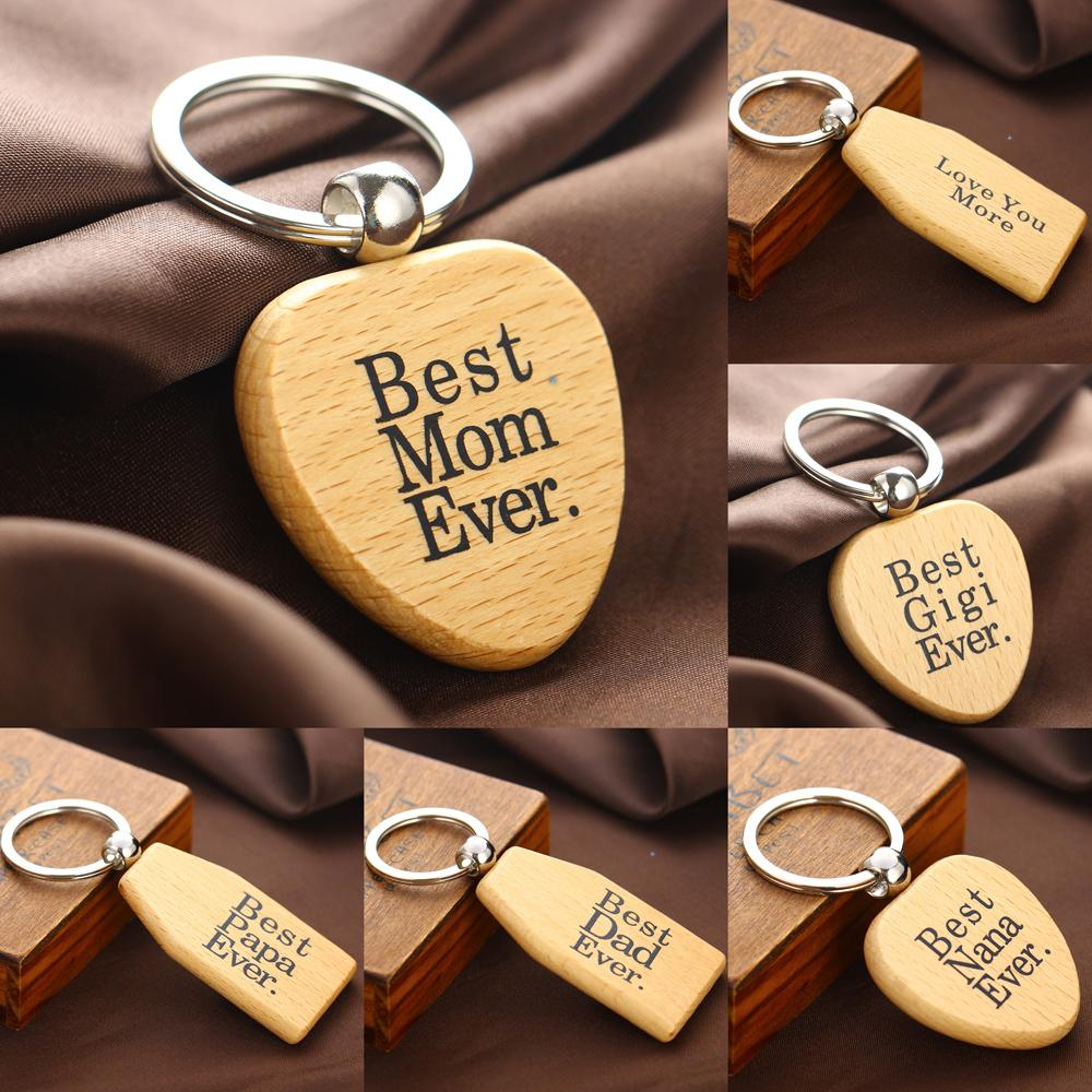 wooden keychains keyrings mothers fathers gifts nana key chains