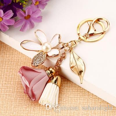 Cloth flower key ring Chiffon tassel car key chains Lady couple bag ornaments creative fashion charm flower ornaments keychain