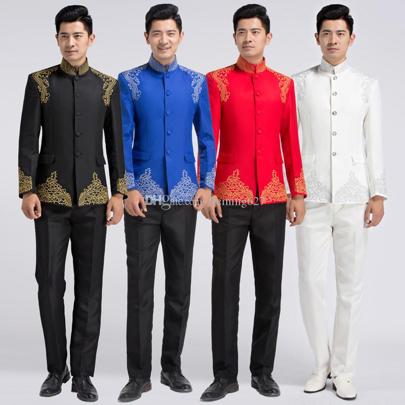 d1a1df769 Chinese Style Embroidered Suit Male Tang Suit Costume Professional Formal  Show Host Dress Traditional Chinese Tunic Men'S Tracksuits Canada 2019 From  ...