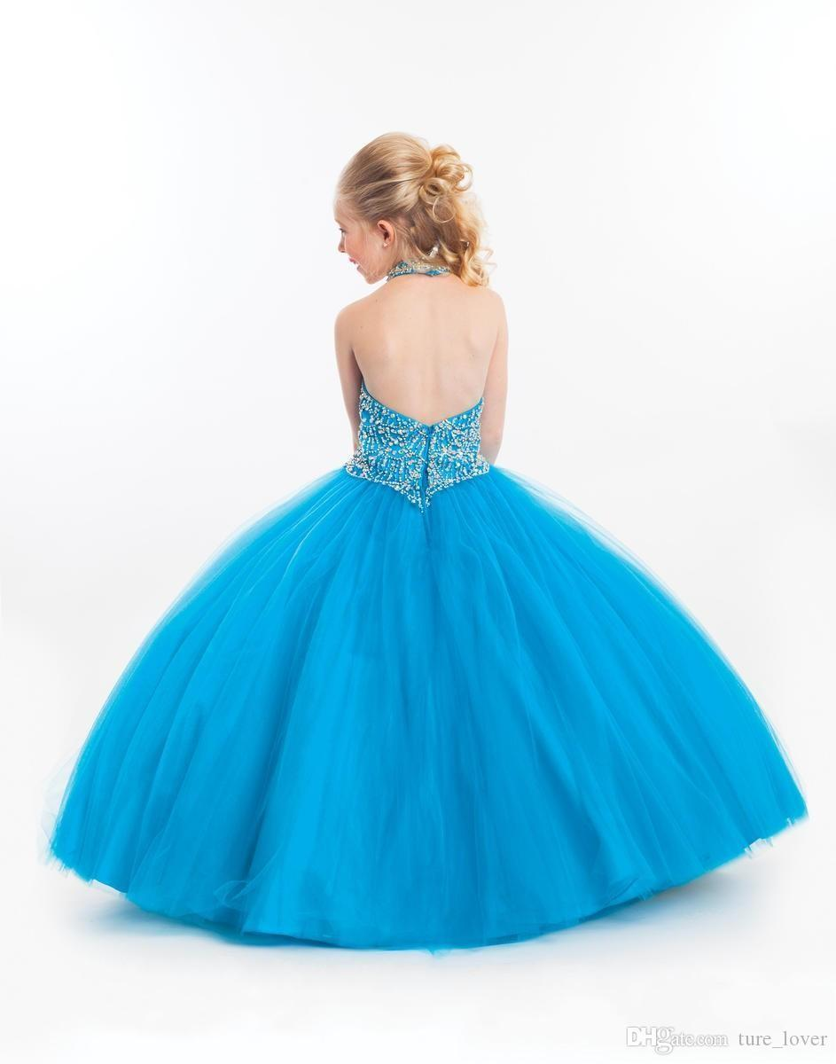 Sparkling Light Sky Blue Flower Girl Dresses Backless Halter Ball Gown Tulle Puffy Pageant Kids Dress Personalized Formal Gowns For Girl