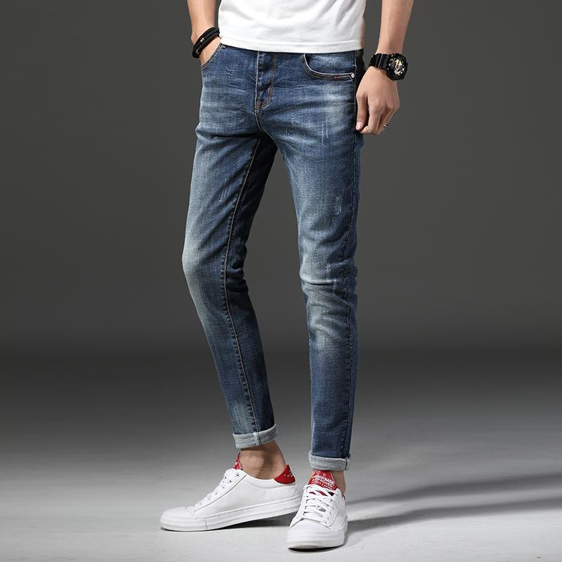 2018 new spring and autumn blue jeans men casual shoes Tide fashion slim  stretch Comfortable men s long trousers