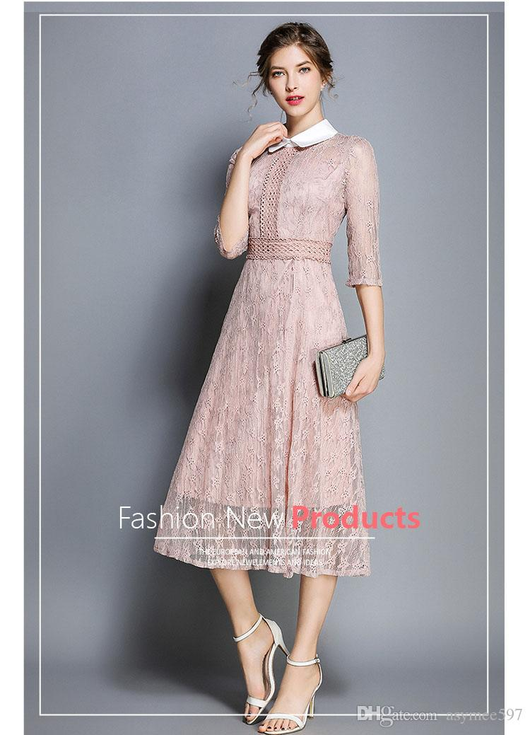 Fashion Early Autumn Lace Panelled A Dress of Women,Half Sleeve,Lap Top Trends Dress,Lapel Beauty