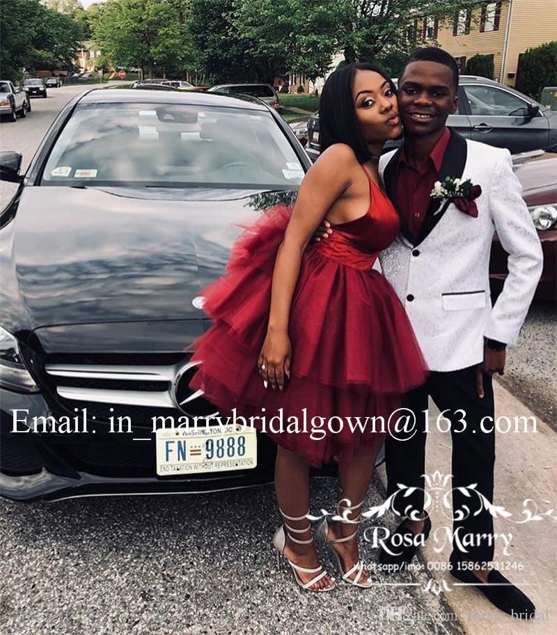 Sexy Burgundy Backless Short Prom Dresses 2020 A Line Plus Size Knee Length Ruffles Skirt 2K19 Cheap Formal Homecoming Evening Party Gowns