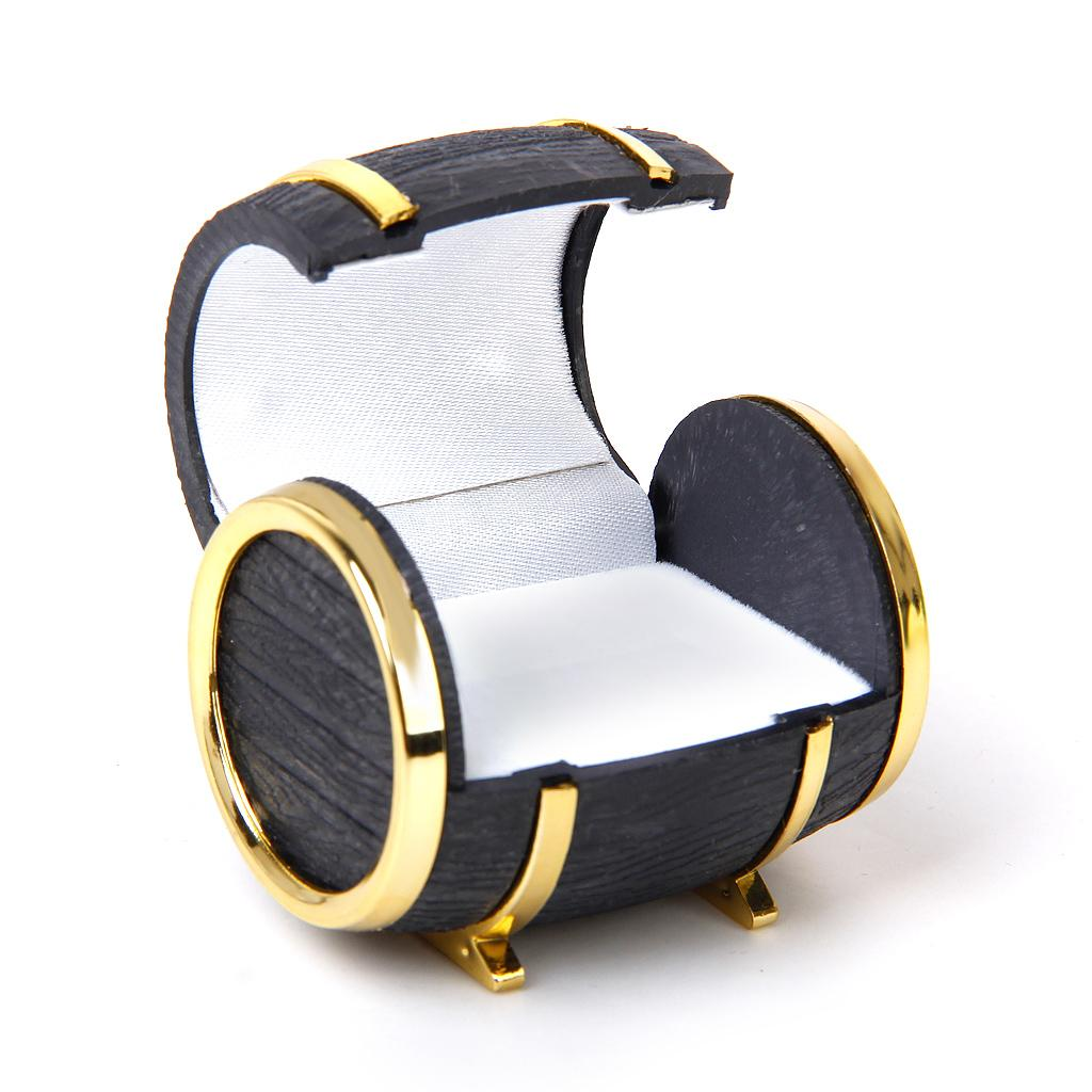PU Leather Single Ring Barrels Bucket Tub Box with Velveteen Zinc Alloy gold color plated black nickel lead cadmium