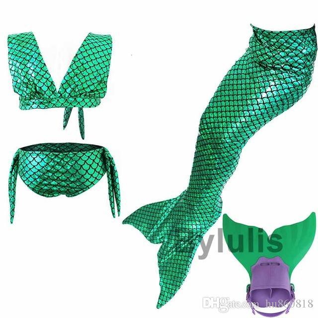 4 Pz / set Baby Girl Girls Tails bambini Swimmable Mermaid Tail Costume bambini nuoto coda della sirena con Monofin Flipper