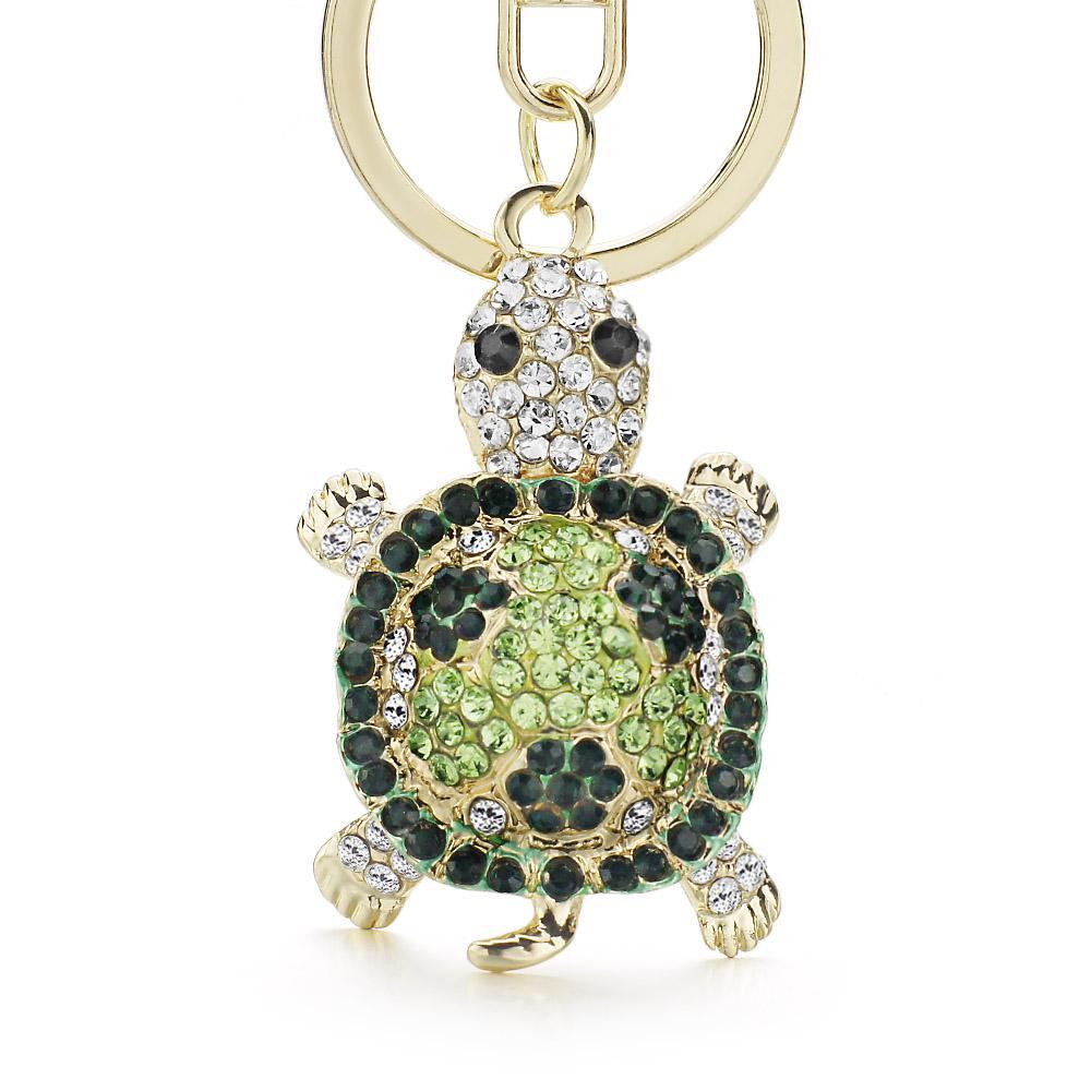 b56375dd6b24 Novelty Crystal Rhinestone Tortoise Keyrings Key Chains Holder For ...