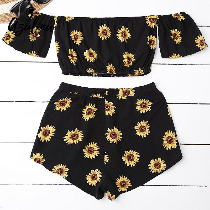 6413a4cbc57 2019 AZULINA Casual 2 Two Piece Set Women Sunflower Print Summer Off The  Shoulder Crop Top Shorts Zipper 2018 Beachwear Women Set D1892502 From  Shen06