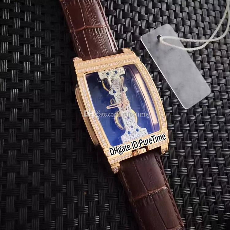Nuovo Golden Bridge B113 / 01045 -113.161.85 / 0002 0000 in oro rosa con diamanti lunetta meccanico a carica manuale orologio da uomo cinturino in pelle marrone