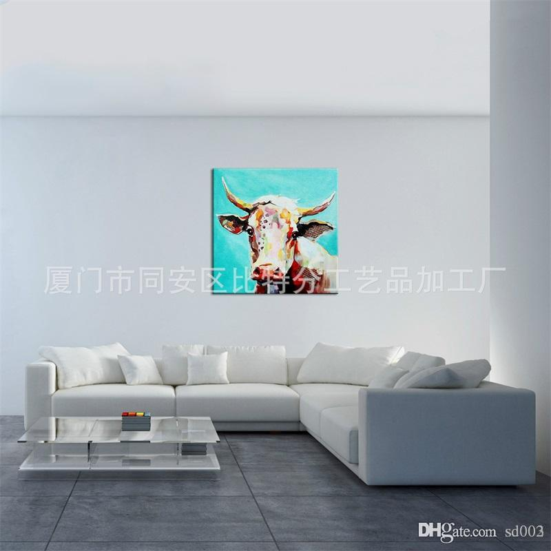 3d Animal Theme Home Decor Oil Painting White Cow Practical Wall Paintings Art Easy Carry Genuine Hand Painted Canvas 100bt7 Cc