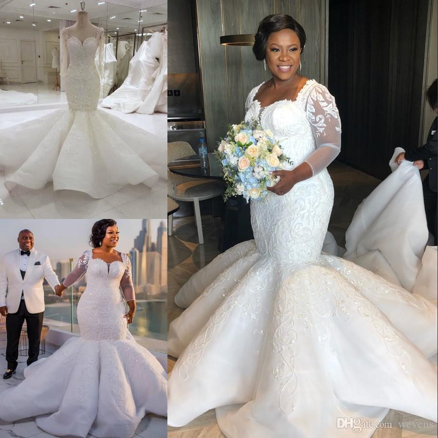 2018 Plus Size Mermaid Wedding Dresses Sweetheart Neck Beaded Long Sleeves Backless Bridal Gowns Satin Sequined Chapel Vestido De Novia Unusual: Unusual Wedding Dresses Plus Size At Websimilar.org