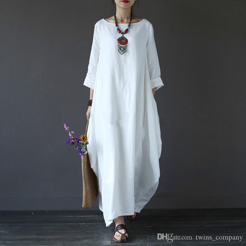 Women Dress 5XL Original Vintage Loose Cotton Linen Dress For Female Summer Long Gown Robe Dresses Plus Size Large Size Dresses Australia 2020 From