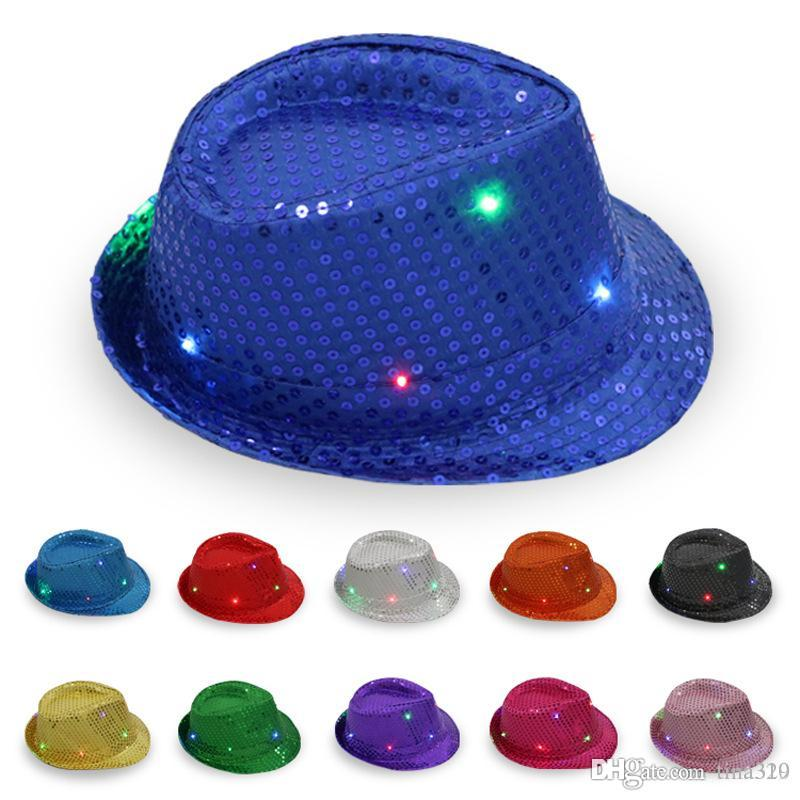 70ccb4a822194 LED Jazz Hats Flashing Light Up Led Fedora Trilby Sequins Caps Fancy Dress  Dance Party Hats Hip Hop Lamp Luminous Hat IC822 Top Hats Train Party  Supplies ...