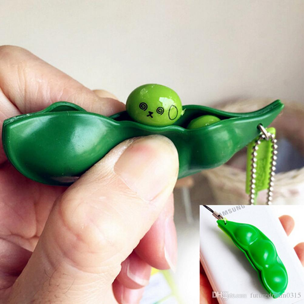 New Newest Hot Sale Fun Beans Squishy Toys Pendants Anti Stress Ball Squeeze Funny Gadgets Toys Mobile Phone Strapes