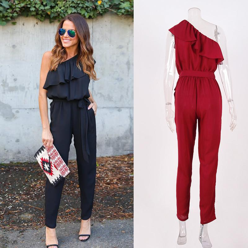 Ruffled Rompers Jumpsuit One Shoulder Long Trousers Women's New Chiffon
