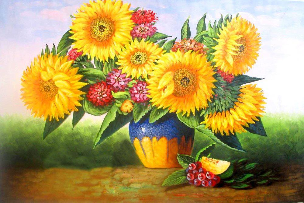 Großhandel 16x20 Zoll Schöne Ernte Von Sonnenblumen Blumen Diy Malen ...