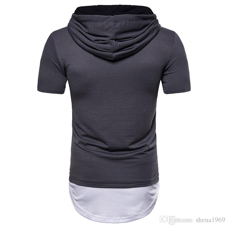 T-shirt da uomo a maniche corte ad arco moderno hip-hop, uomo, europea e americana