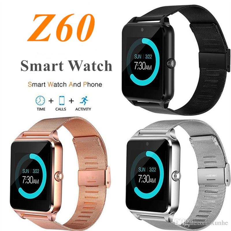 Z60 Smart Watch with Luxury Stainless Steel Support SIM and TF Card Bluetooth Smartwatch Fitness Tracker for IOS Android with Retail Box