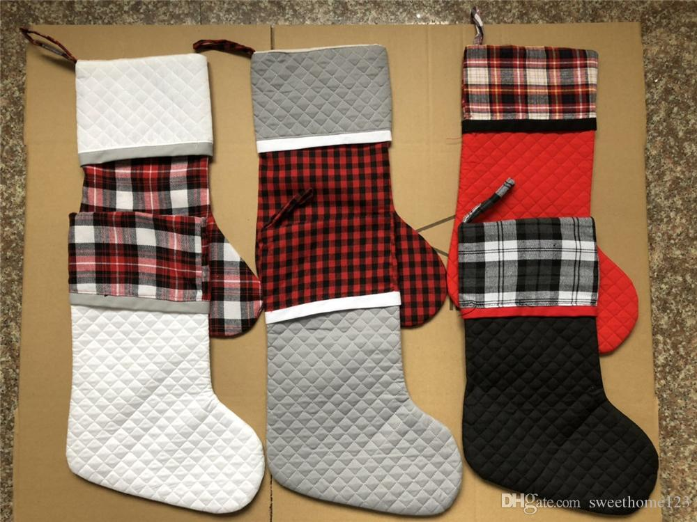Personalized Monogrammed Buffalo Plaid Christmas Stocking Canvas Quilting Xmas Stocking With White Cuff For Xmas Decoration