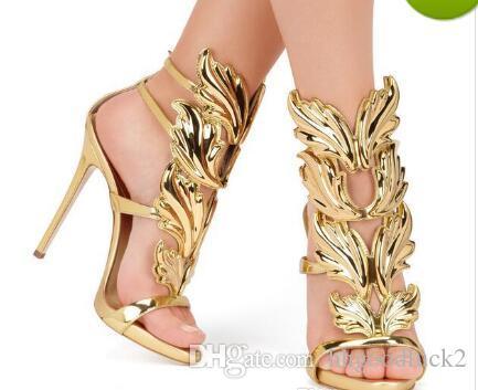 32f194ffb Compre Venda Quente De Ouro De Metal Asas Folha Com Tiras Vestido Sandália  Prata Ouro Vermelho Gladiador Sapatos De Salto Alto Mulheres Metálicas  Sandálias ...