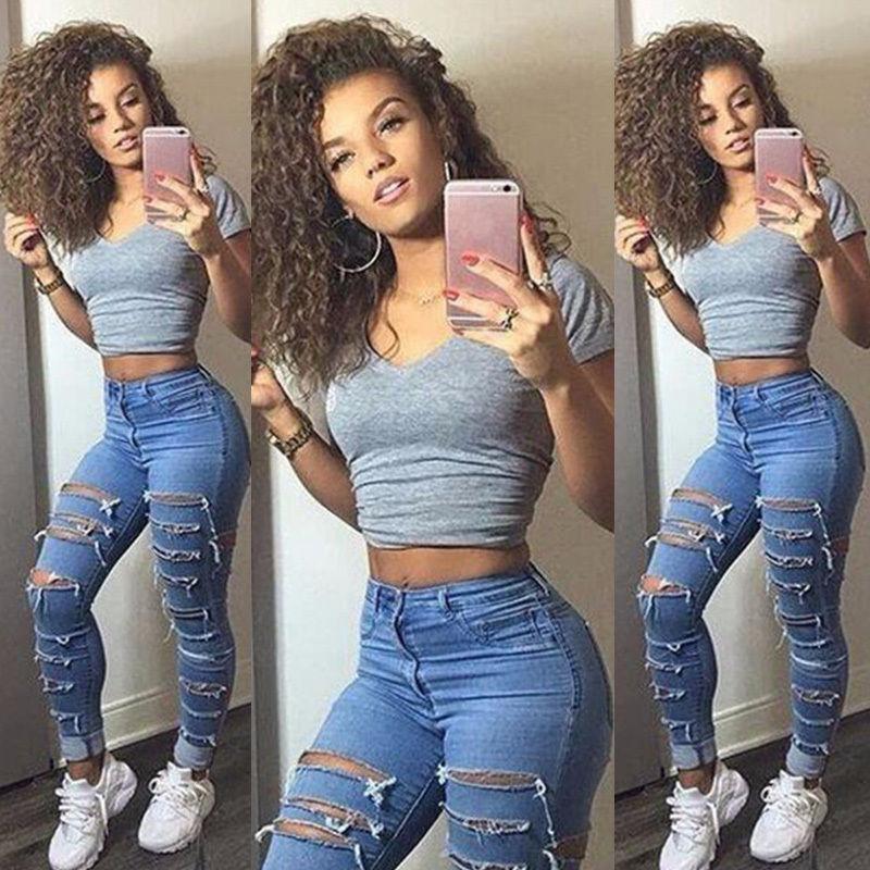 8992c0ba6 Ripped Knee Skinny Jeans 6 8 10 12 14 16 Jeans para mujer de cintura alta  para mujer Ropa Pantalones Agujero