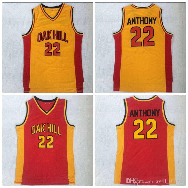 separation shoes 89e16 2beeb Carmelo Anthony Oak Hill Jersey Oak Hill School 22# Yellow Red Basketball  jerseys