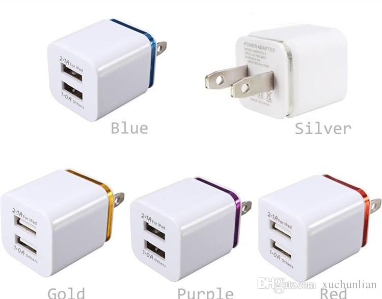 promo code 07a1c b005a For iPhone 6 Metal Dual USB wall US plug 2.1A AC Power Adapter Wall Charger  Plug 2 port for LG tablet ipad