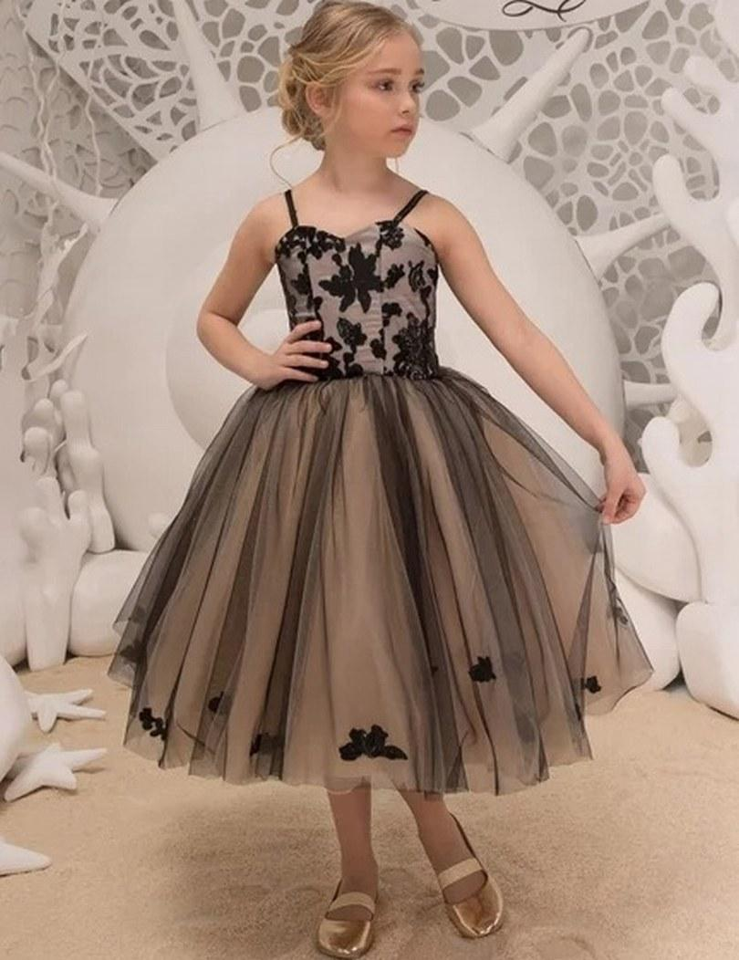 9a06d8d50 Black And Beige Special Occasion Dress Pincess Pageant Flower Girl ...