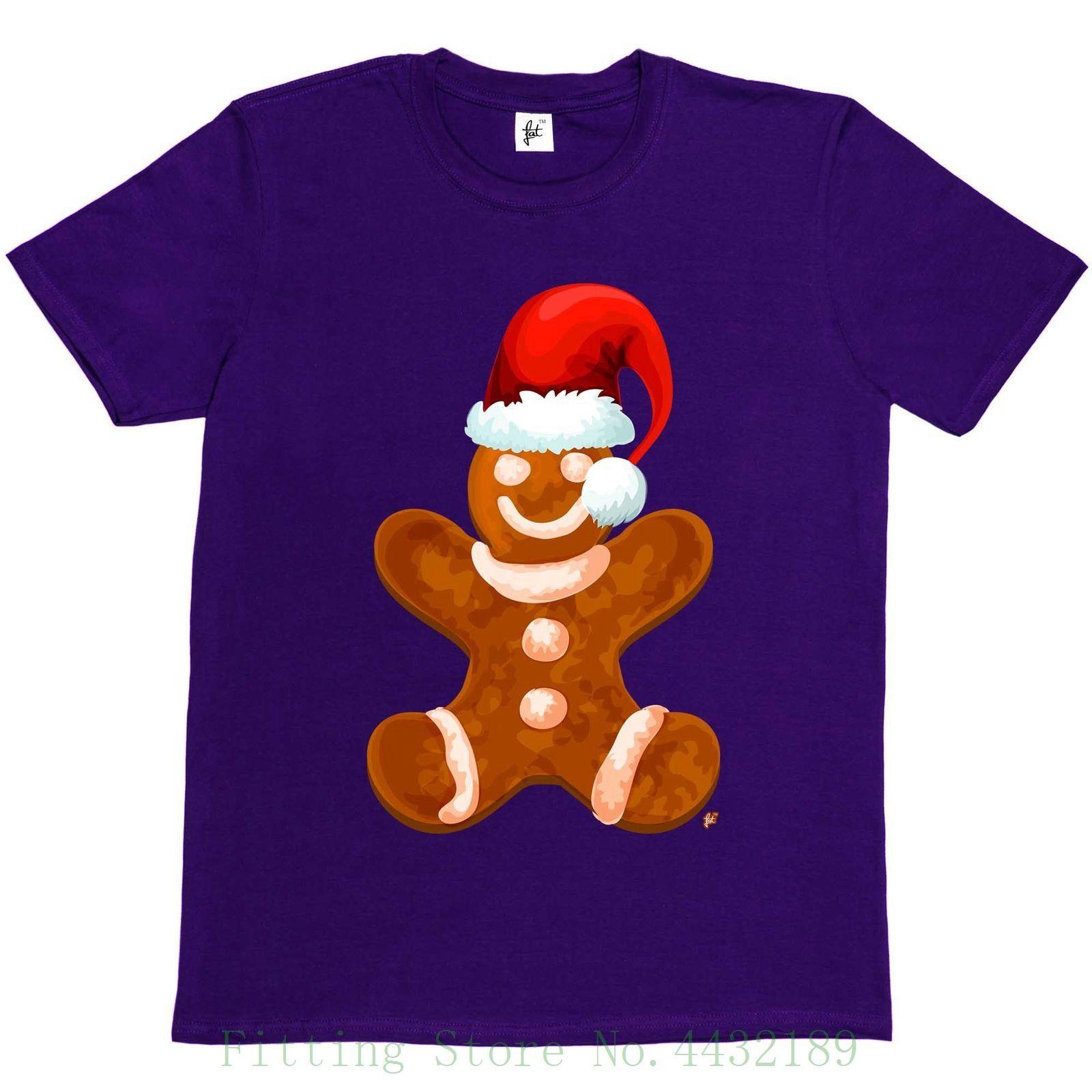 0c4964624 Compre Homem De Gengibre Feliz Vestindo Vermelho Chapéu De Santa Natal Mens  T Camisa Manga Curta Estilo Verão De Aaa888tshirts