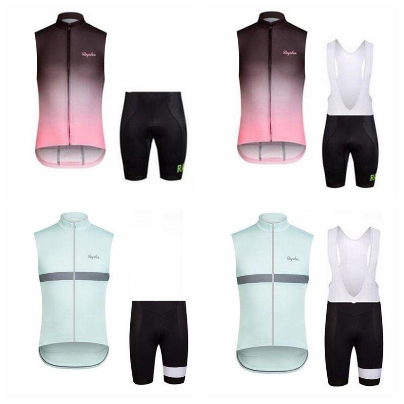 RAPHA equipo ciclismo camiseta sin mangas Chaleco babero pantalones cortos conjuntos de desgaste de la bicicleta Ropa MTB uniforme bicicleta Maillot Culotte E3112