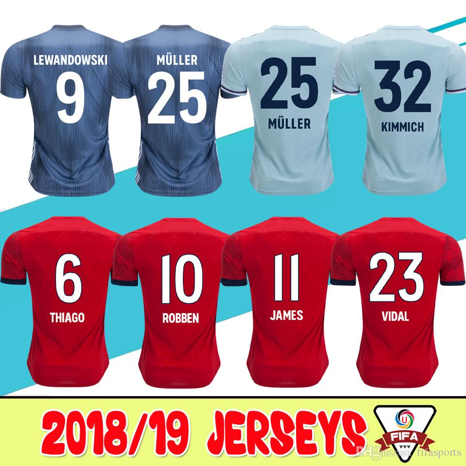 3eee2bae9 order 2018 2019 muller home soccer jersey 18 19 red third soccer shirt  vidal kimmich james
