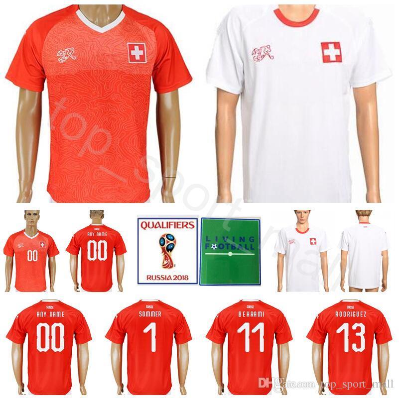 3aaf088c529 Men Switzerland Soccer Jersey 11 BEHRAMI 14 ZUBER 13 RODRIGUEZ 1 ...