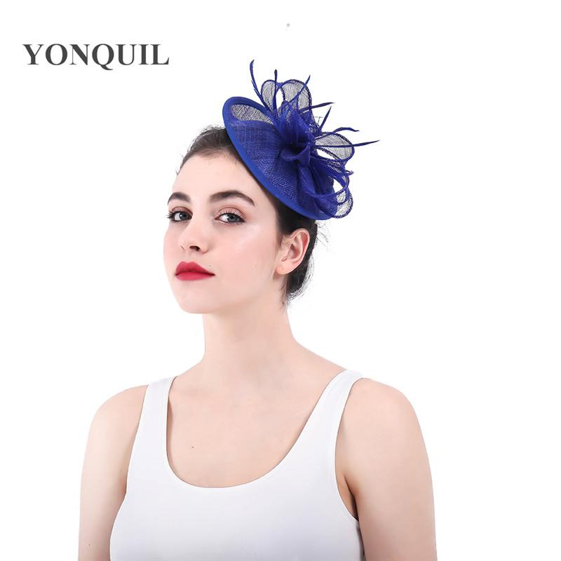 57475729f332f Royal Blue Bridal Married Hair Accessories Fascinators Chapeau Sinamay Hat  Headband Vintage Party Wedding Women Heapiece New 2018 SYF331 Bridal  Wedding Hats ...