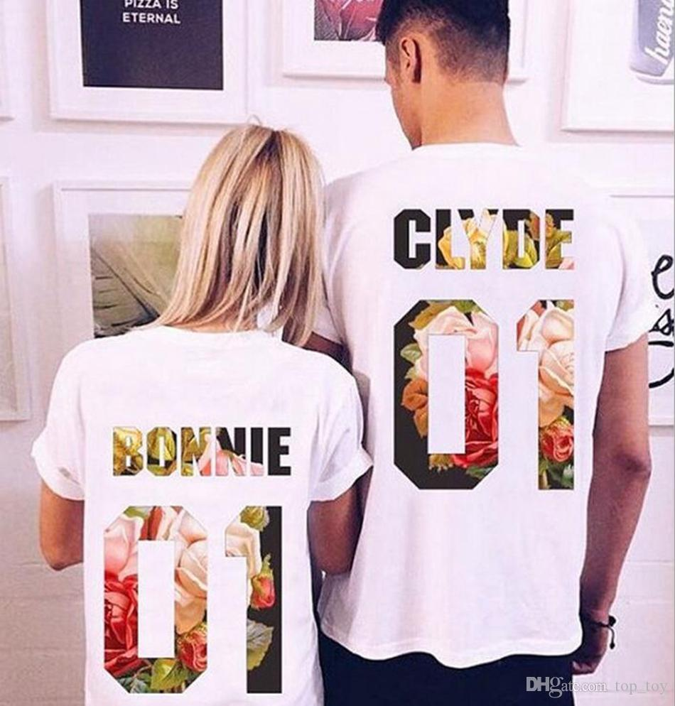 2019 Bonnie Clyde Short Sleeve Couple T Shirts King Queen Couple