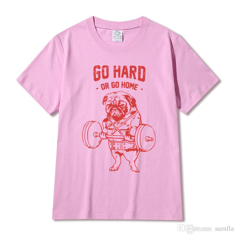 Hot Sale Fashion Pug Squat Exercise Hard Design Men's Creative Printed T-shirt Short Sleeve Male Funny Tops Hipster Casual Tee