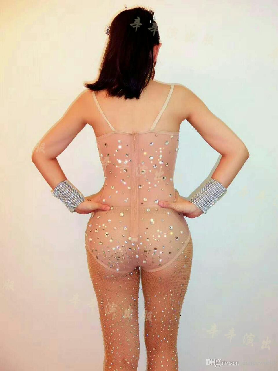 Ds Elbise Seksi Rhinestone Leotard Siyah Ceket Kadınlar Gece Kulübü Dans Giyim Bodysuit Kabanlar Balo Kıyafet Performans Elbise Kutlamak