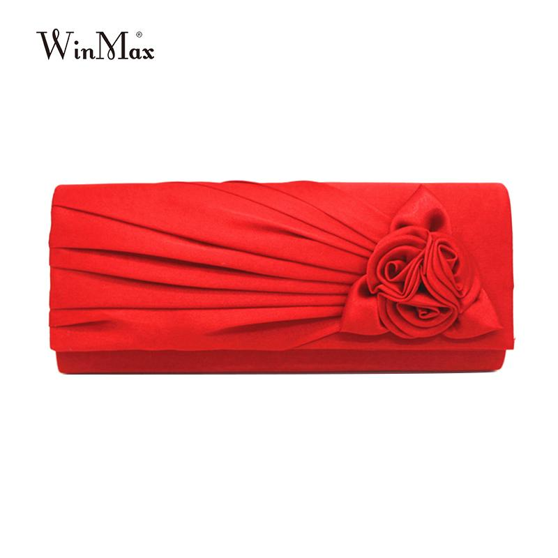 Ladies Cheap Hot Casual Clutch Purse Chain Handbags Women Evening party Bag Bride Wedding handbag silk rose clutch bolsas mujer