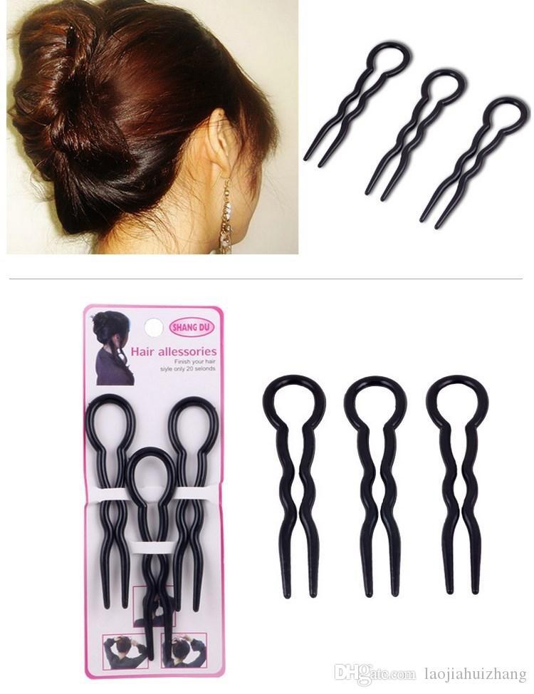 Las más nuevas herramientas de peinado para el peinado del cabello en forma de U, horquillas de pelo negro / marrón es cada / set