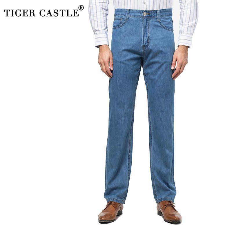 ec0c3f7875f7d Compre Cintura Alta 100% Algodón Pantalones Vaqueros Ligeros De Verano  Hombres Moda Pantalones Vaqueros Largos Clásicos De Hombre Alta Calidad  Mens Jeans ...