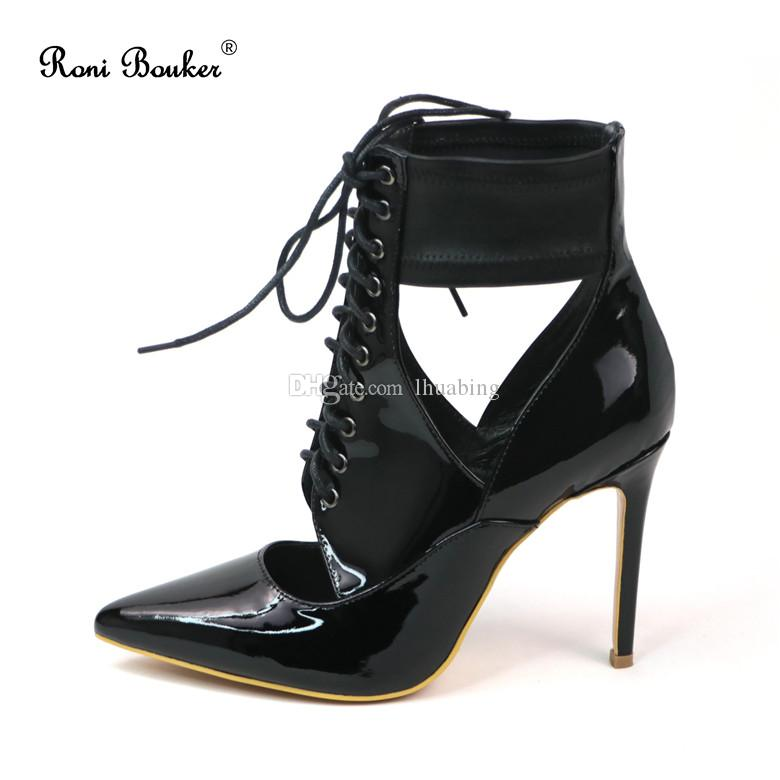e9de890b329 Free shipping Women Black Patent Leather Ankle Boots Ladies Sexy Pointed  Toes High Heels Size35-41 with Box