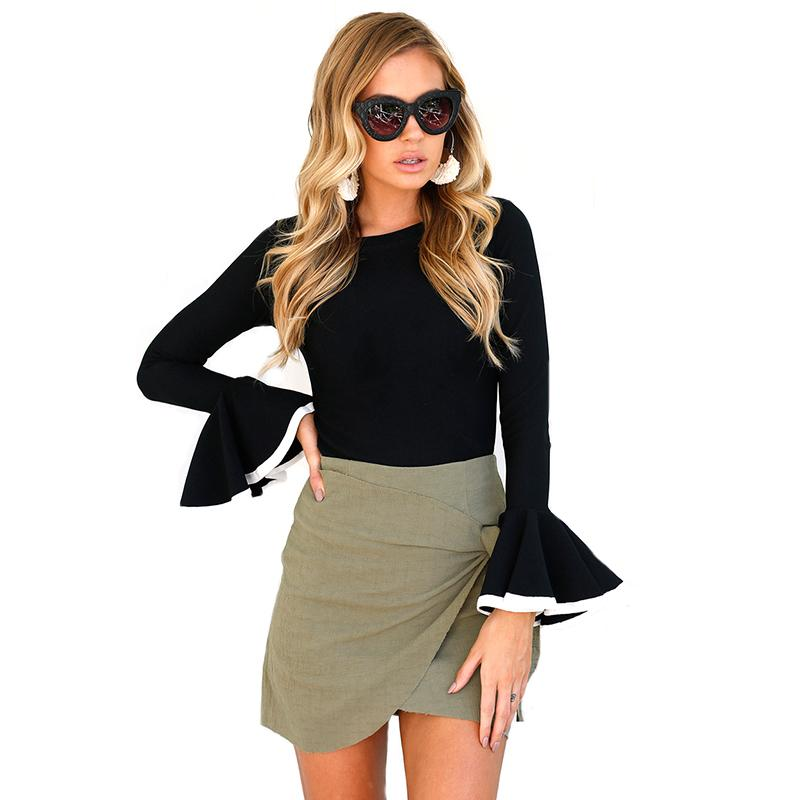 f007bd3f4af Fashion Women Blouse Shirt Autumn Women Clothing Long Flare Sleeve O Neck  Solid Shirts Tops Female Women Basic Shirt Black Online with  30.0 Piece on  ...