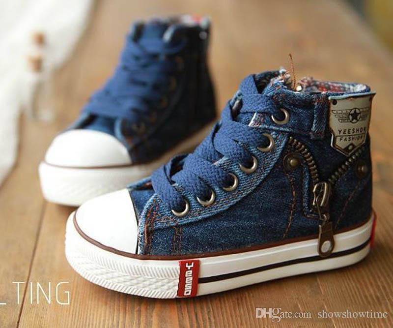 Yeni 2018 Sonbahar Kız Bebek Tuval Çocuk Ayakkabıları Erkek Çizmeler Sneakers Marka Çocuklar Kızlar Için Ayakkabı Bebek Kot Denim Düz Çizmeler