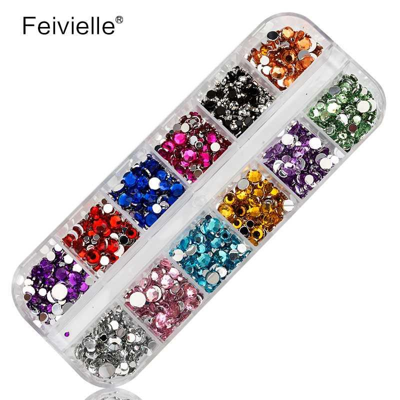 Feivielle 1 Boxs Mix Round Rhinestones For Nails Hard Case Nail Art