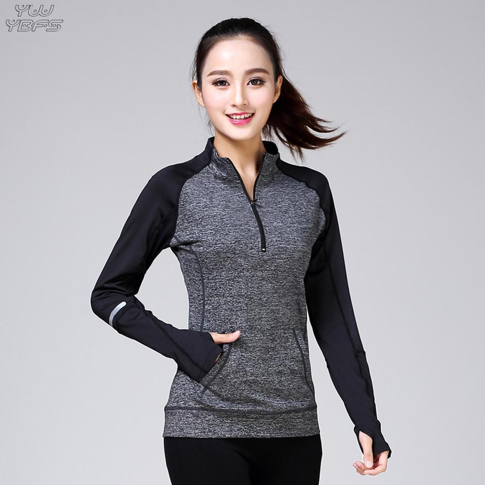 2abec953 New Yoga Shirt Women Long Sleeve Fitness Gym Sport Shirt Patchwork High  Elastic Running Top Sports Jerseys Sportswear Quick Dry