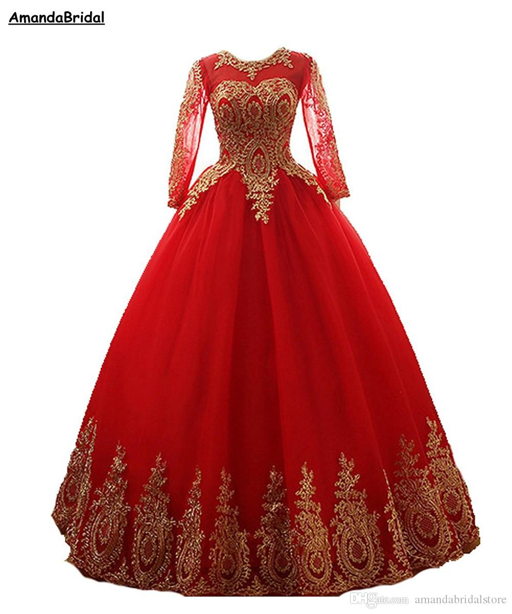 Manica Prom Dresses Amandabridal lungo del merletto 2020 nuovo Long Ball Gown Quinceanera di Tulle abito convenzionale Plus Size