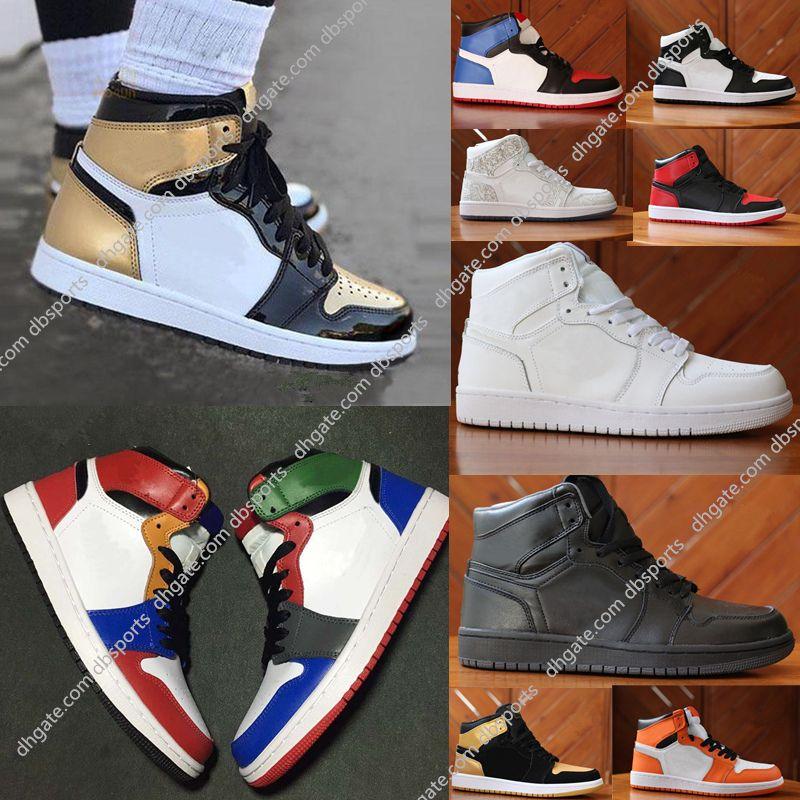 new product 72a47 b2d11 Acheter 2018 Nike Air Jordan High OG 1 Top 3 Chaussures De Basketball Blé  Or Bred Toe Chicago Banni Fragment Bleu Royal UNC Rebel Rouille Rose  Chaussures De ...