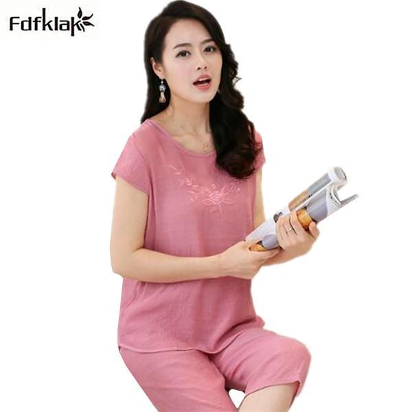 2019 Cotton And Linen Pajamas Women Summer Ladies Nightwear ... fc35298091