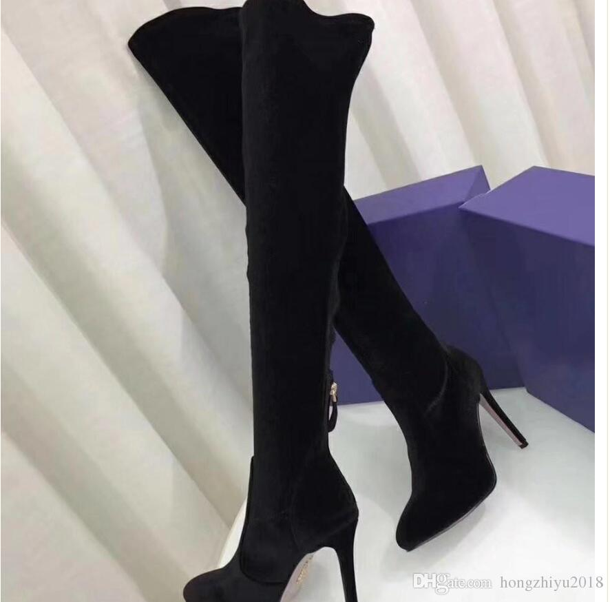 Wine Red Royal Blue Black Velvet Boots Stiletto Heels Over the knee T Show Evening Party Boost